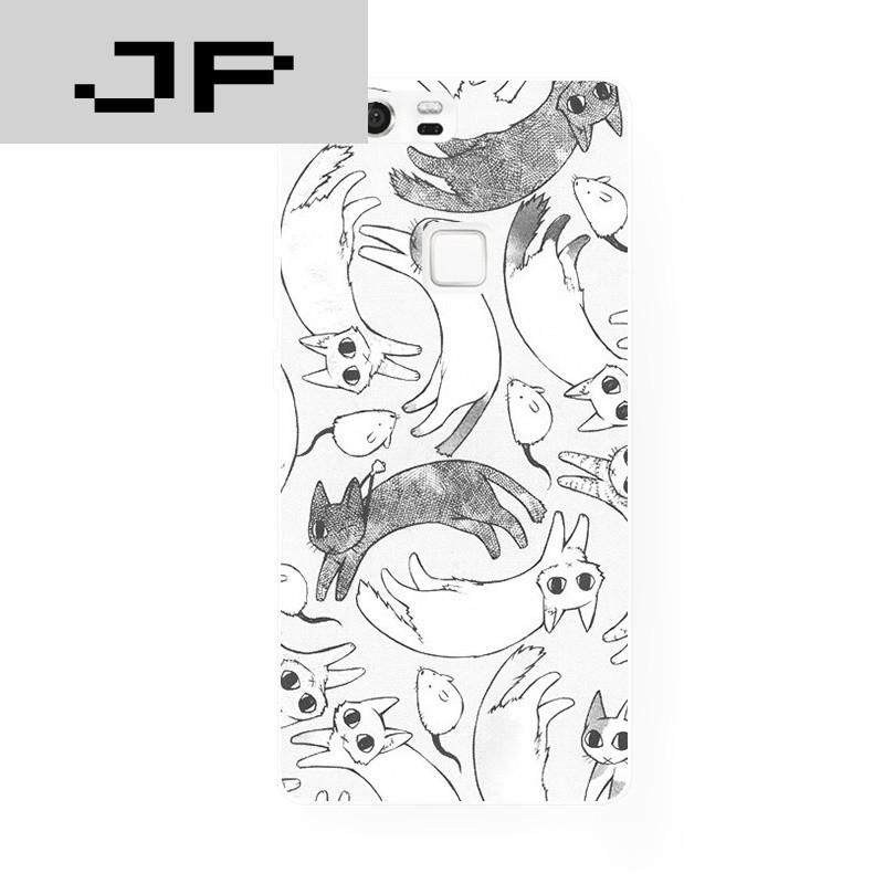 jp潮流品牌文艺小清新黑白猫华为 p8 9荣耀6 7plus mate7 8手机壳卡通