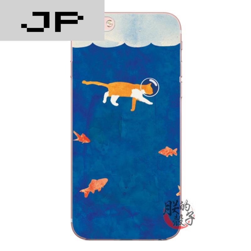 jp潮流品牌创意手绘插画猫咪捉鱼手机壳iphone7 6s苹果6plus小清新