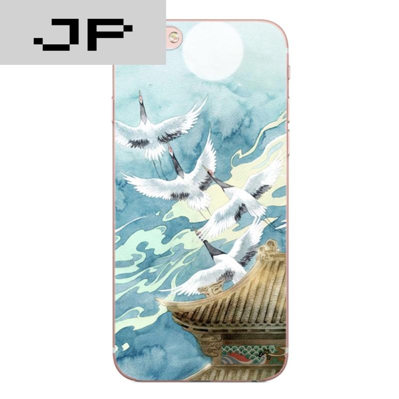 品牌新款日本和风软壳清新文艺复古仙鹤iphone7 6 5s苹果6plus手机壳
