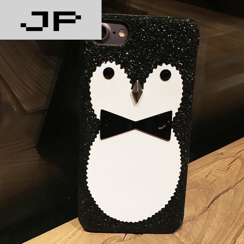 jp潮流品牌韩国新款可爱黑白闪粉企鹅苹果6s手机壳iphone7 plus立体