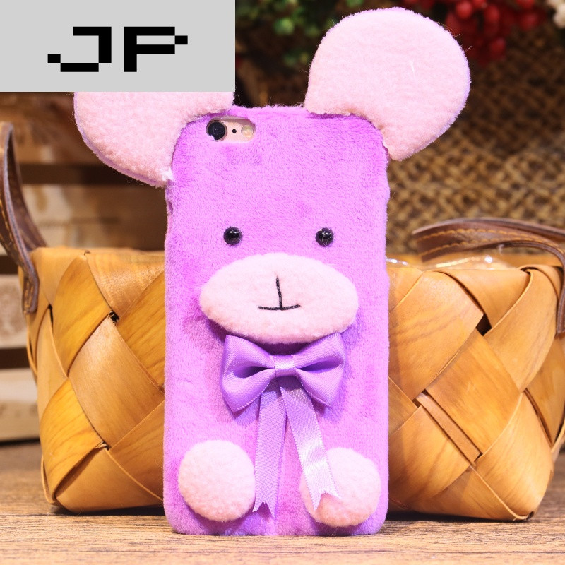 jp潮流品牌毛绒熊苹果6plus手机壳iphone6手机套6s日韩可爱六硬壳新款