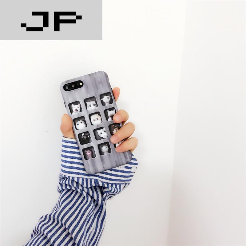 jp潮流品牌可爱方格猫咪 苹果6手机壳iphone7/6s/plus