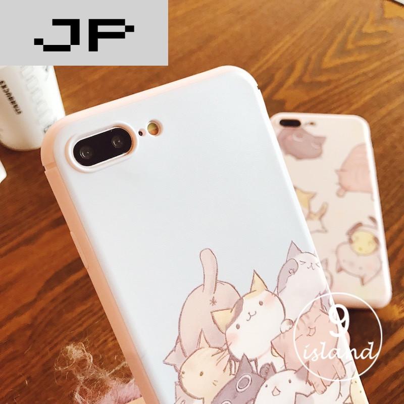 jp潮流品牌可爱萌猫咪苹果6plus全包硅胶软壳iphone7plus手机壳6s挂4.