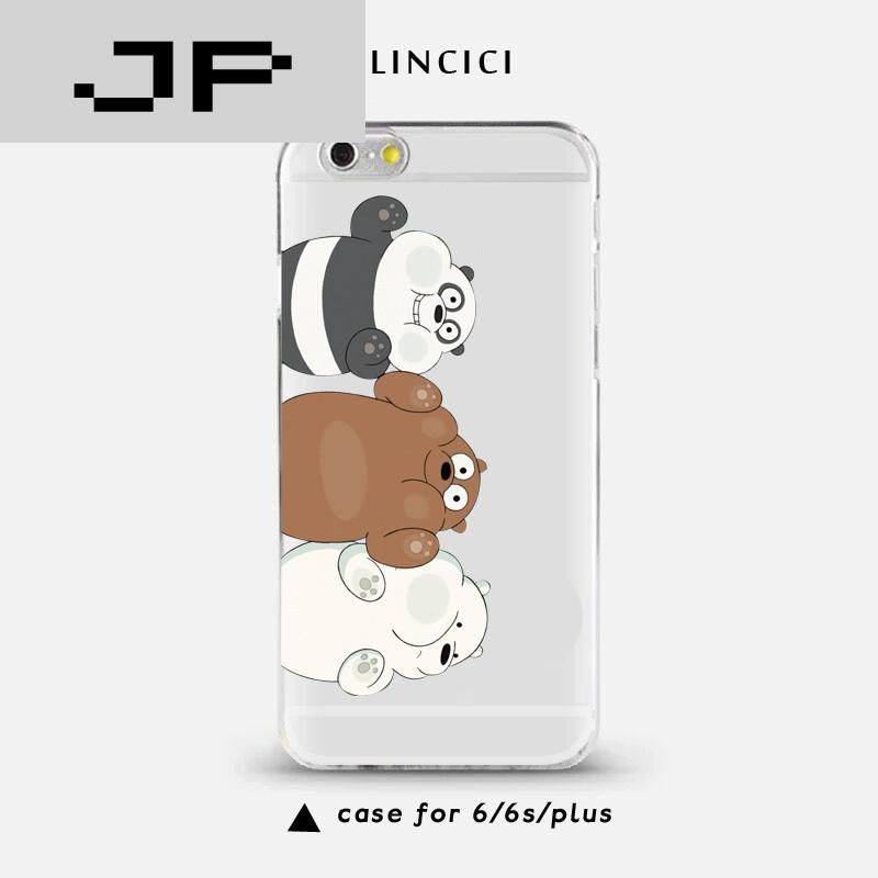 jp潮流品牌咱们裸熊三只熊贴玻璃苹果6s手机壳iphone