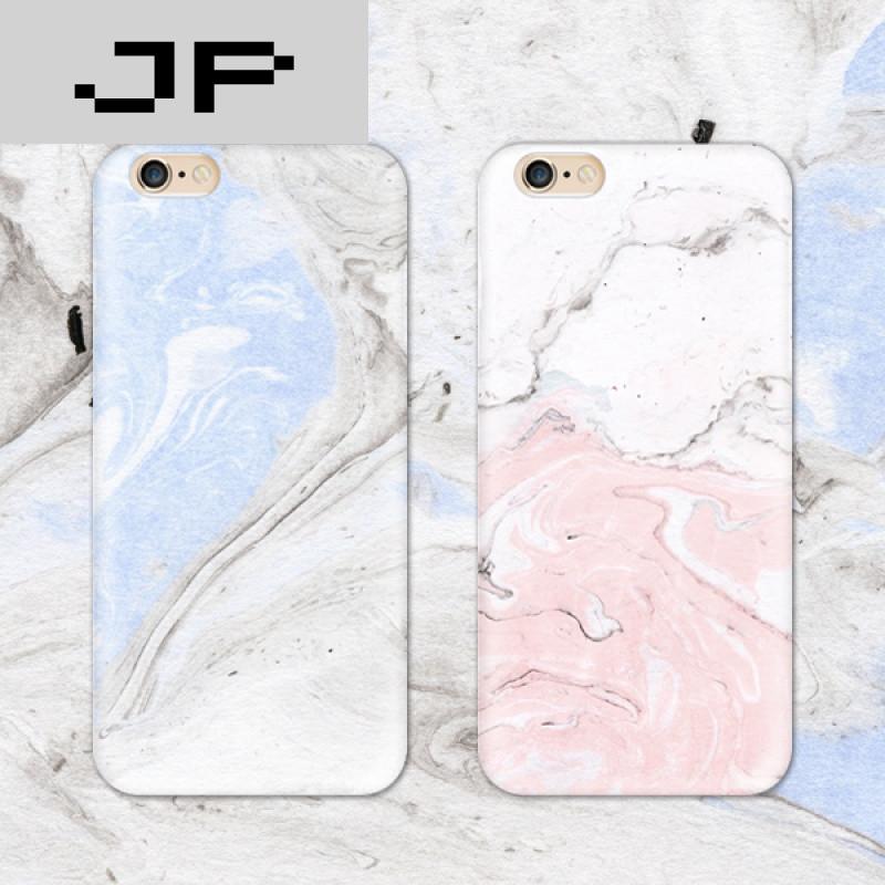 jp潮流品牌蓝粉大理石简约原创意苹果6手机壳iphone 6s plus保护壳