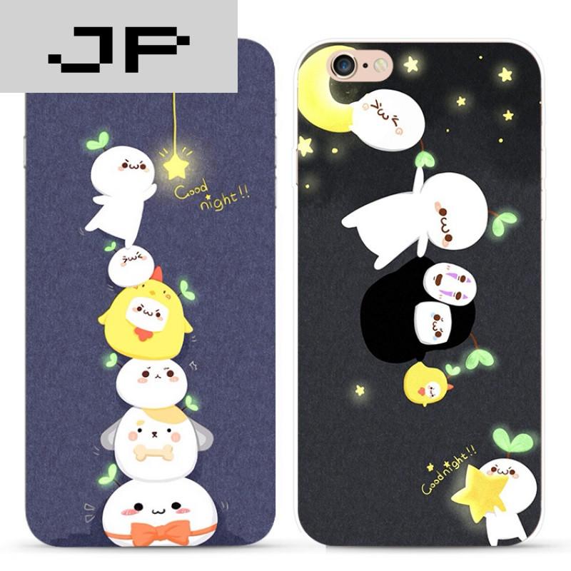 jp潮流品牌简约可爱卡通苹果iphone7 6s plus 5s手机壳硅胶全包软壳防