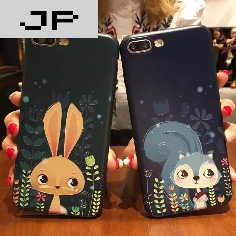 jp潮流品牌韩版卡通iphone6plus手机壳彩绘可爱动物浮雕7plus全包软6s