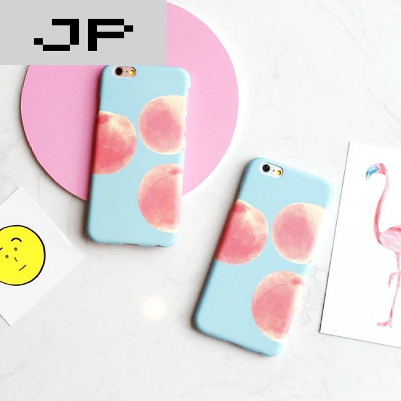 jp潮流品牌韩国可爱小清新水蜜桃iphone6s半包磨砂硬壳苹果6s plus