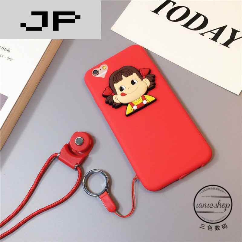 jp潮流品牌卡通可爱iphone7手机壳挂绳苹果6splus软胶