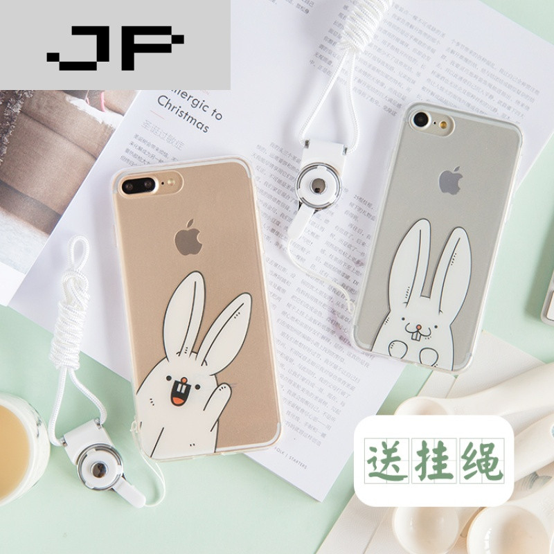 jp潮流品牌可爱卡通兔子苹果6s手机壳透明硅胶7plus全包软壳6plus情侣图片