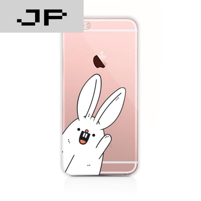 jp潮流品牌可爱卡通兔子苹果6s手机壳透明硅胶7plus全包软壳6plus情侣