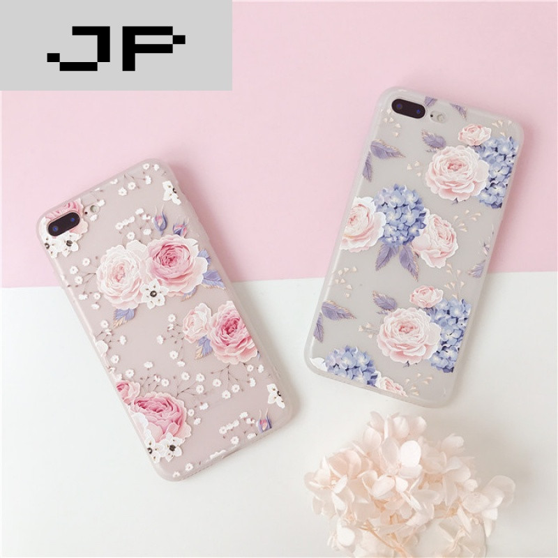 jp潮流品牌小清新花朵苹果7plus手机壳5.5iphone6s保护套4.