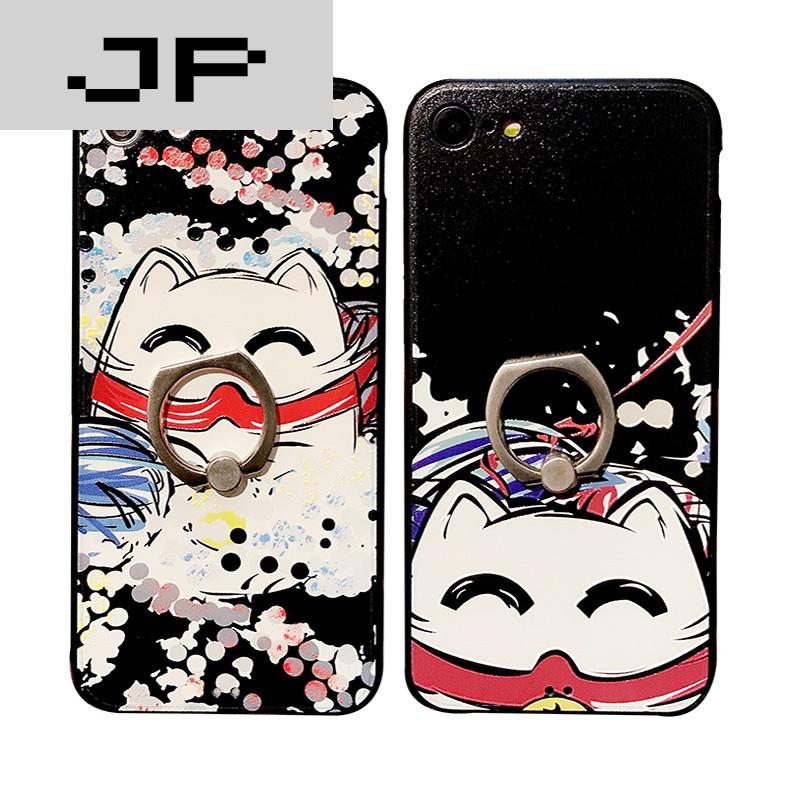 jp潮流品牌招财猫涂鸦iphone7手机壳指环支架苹果plus