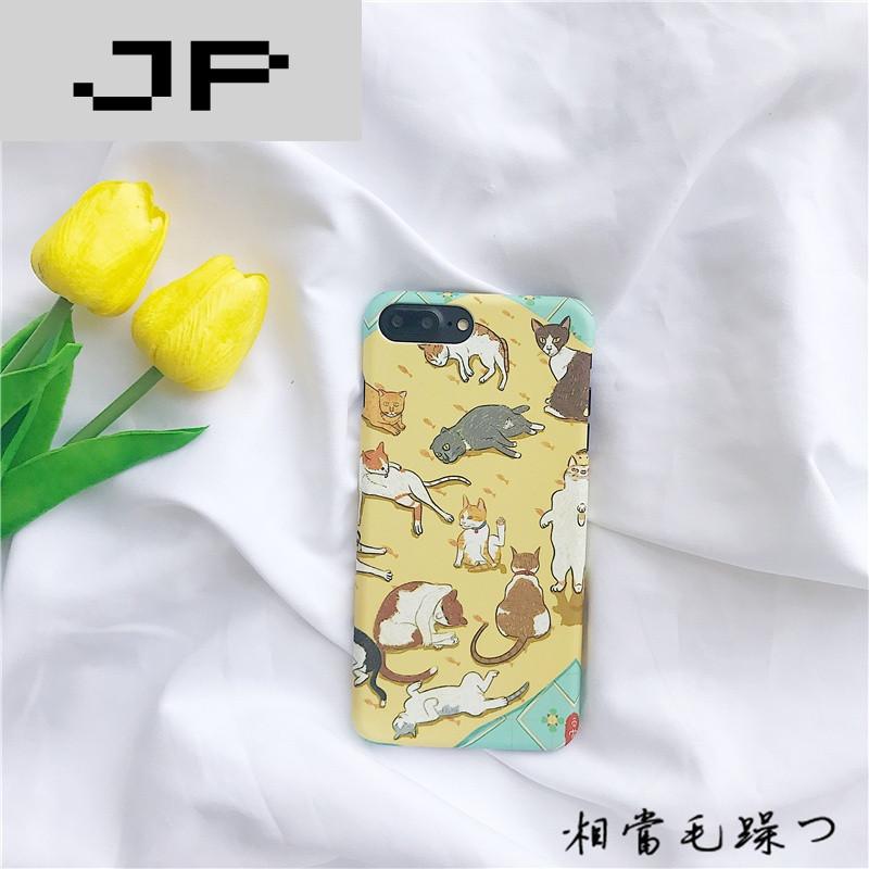 jp潮流品牌苹果7plus手机壳简约超薄磨砂情侣可爱小猫