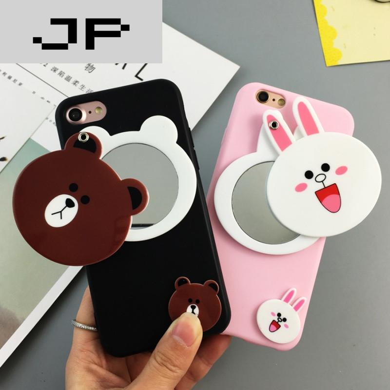 jp潮流品牌个性卡通可爱布朗熊镜子vivox9手机壳磨砂挂绳y55a保护套软