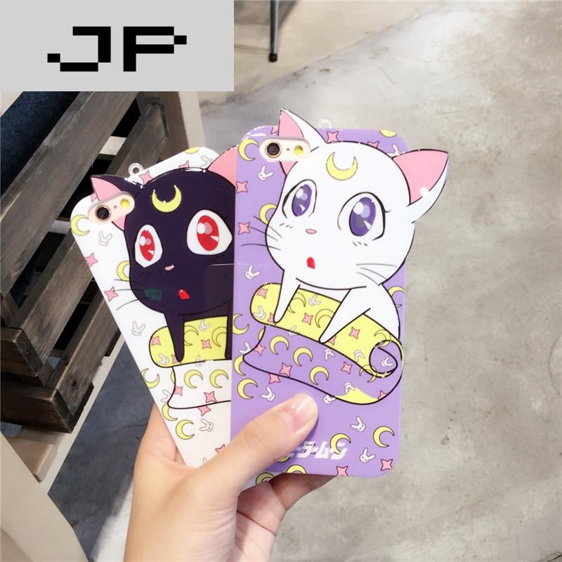 jp潮流品牌送挂绳可爱卡通猫 苹果手机壳iphone7/6s/plus硅胶套日韩
