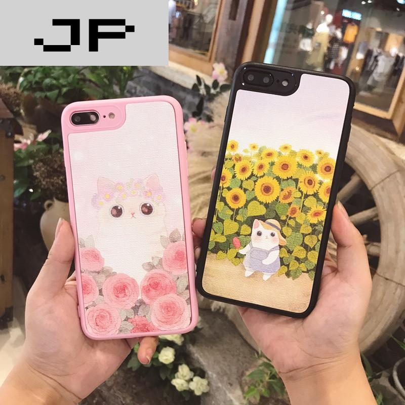 jp潮流品牌小清新可爱猫咪iphone7手机壳6plus软硅胶挂绳全包苹果6s