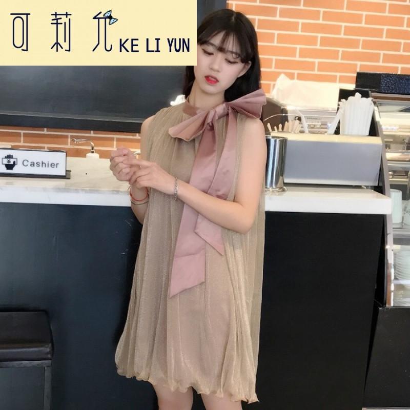 keliyun春夏女装韩版时尚绑带蝴蝶结领口宽松无袖背心