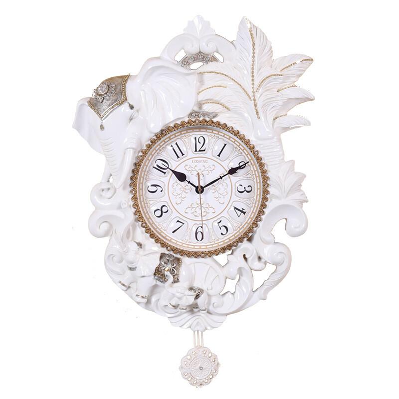 丽盛(lisheng)大号欧式静音壁挂钟客厅时钟时尚挂表卧室钟表创意大象