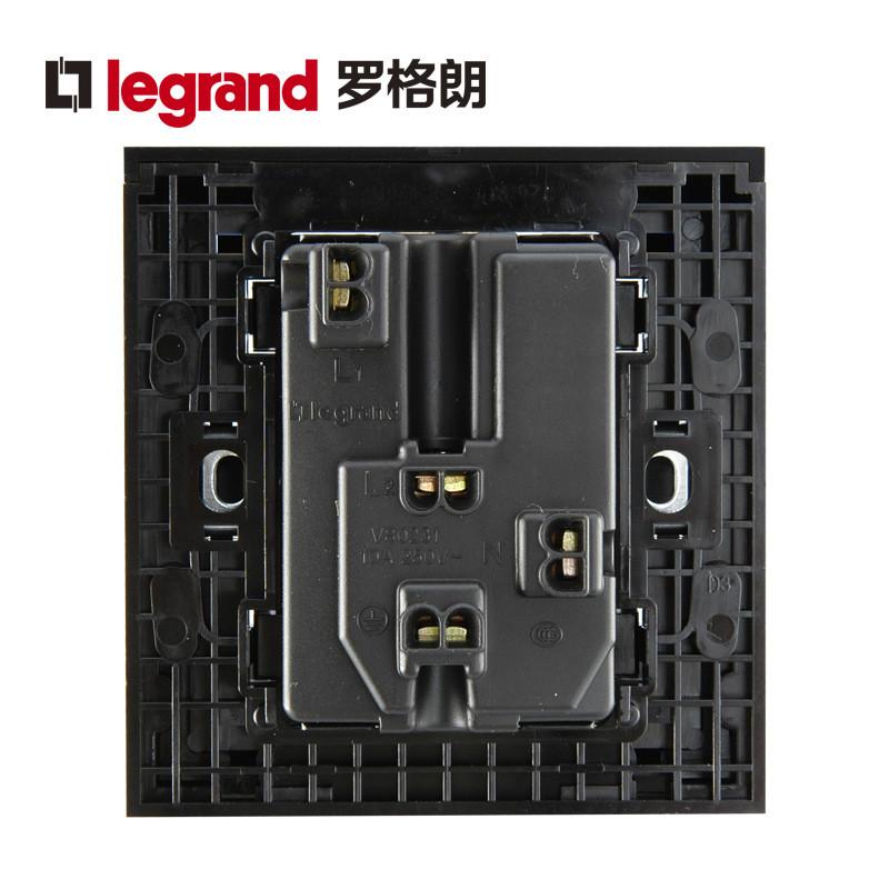 罗格朗legrand开关插座面板k5经典黑5五孔带开关一开五孔墙壁电源86型
