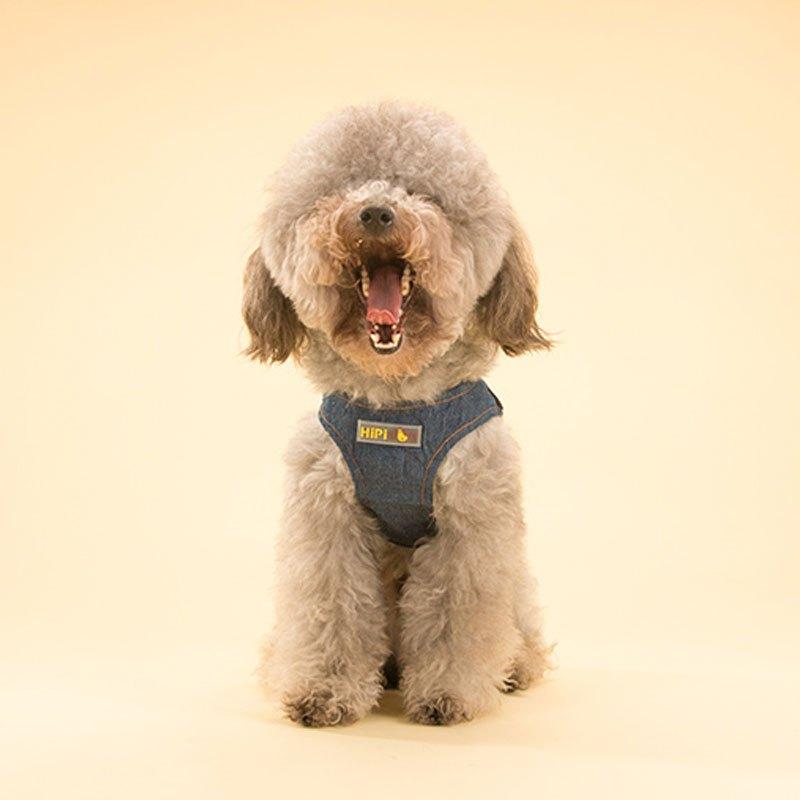 (牛仔背心 牵引绳)可爱宠物狗狗牛仔背心牵引绳泰迪比熊小狗狗绳子