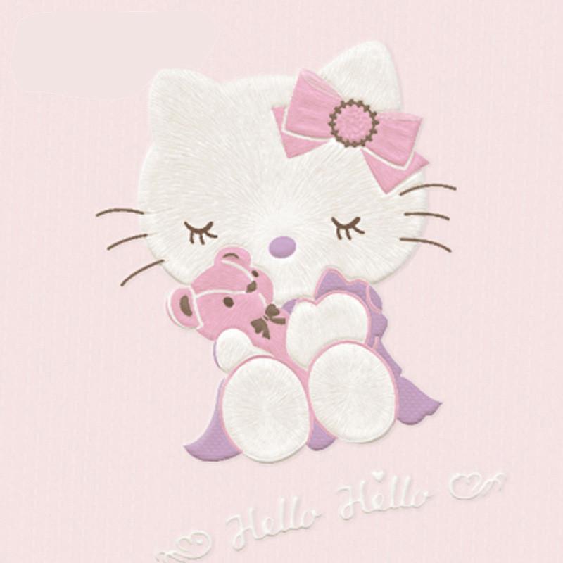 儿童房墙纸可爱卡通kitty温馨粉色女孩男孩卧室3d无纺布壁纸墙纸墙面