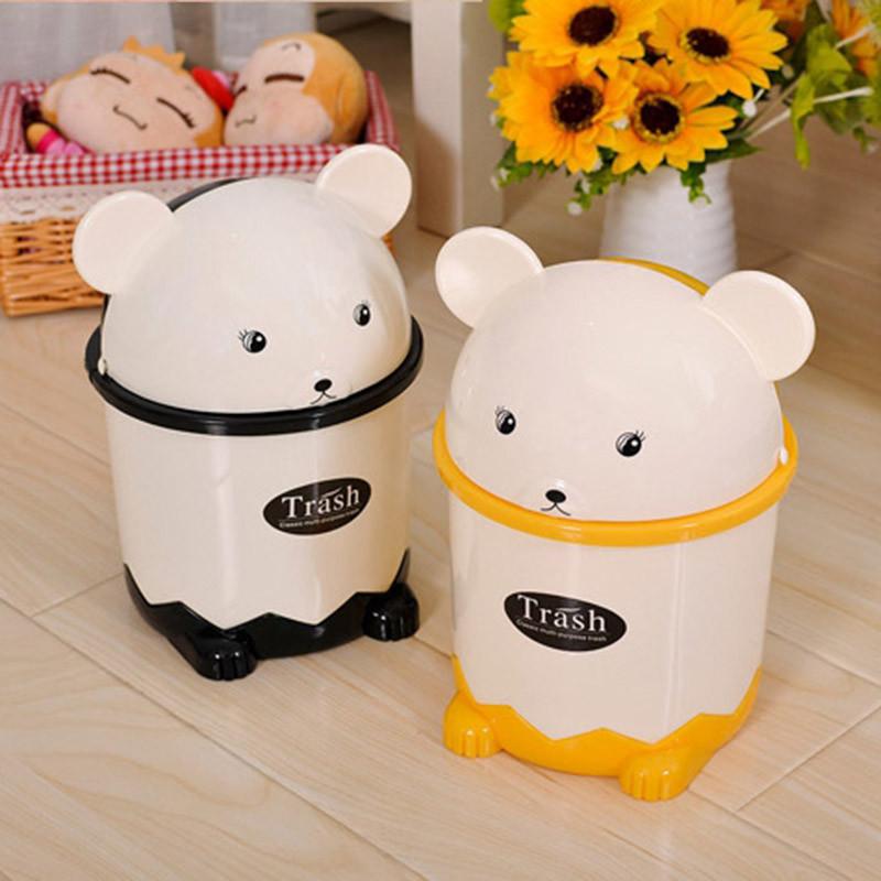 卡通熊猫桌面垃圾桶家用创意卫生间可爱卡通迷你翻盖小垃圾筒垃圾桶