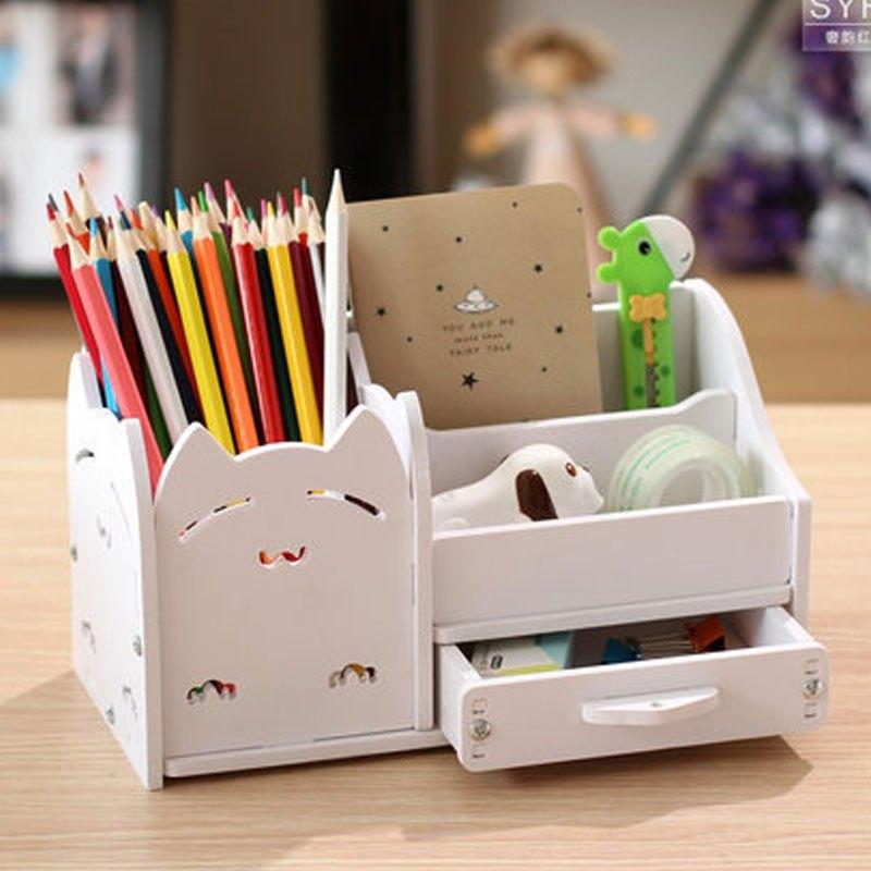多功能笔筒创意时尚韩国小清新学生可爱卡通儿童桌面小收纳盒办公多色