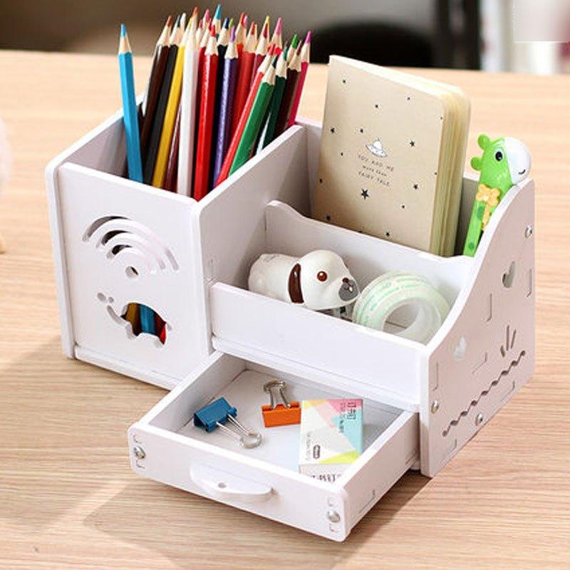 多功能笔筒创意时尚小清新可爱桌面小收纳盒卡通儿童办公用品多用多色
