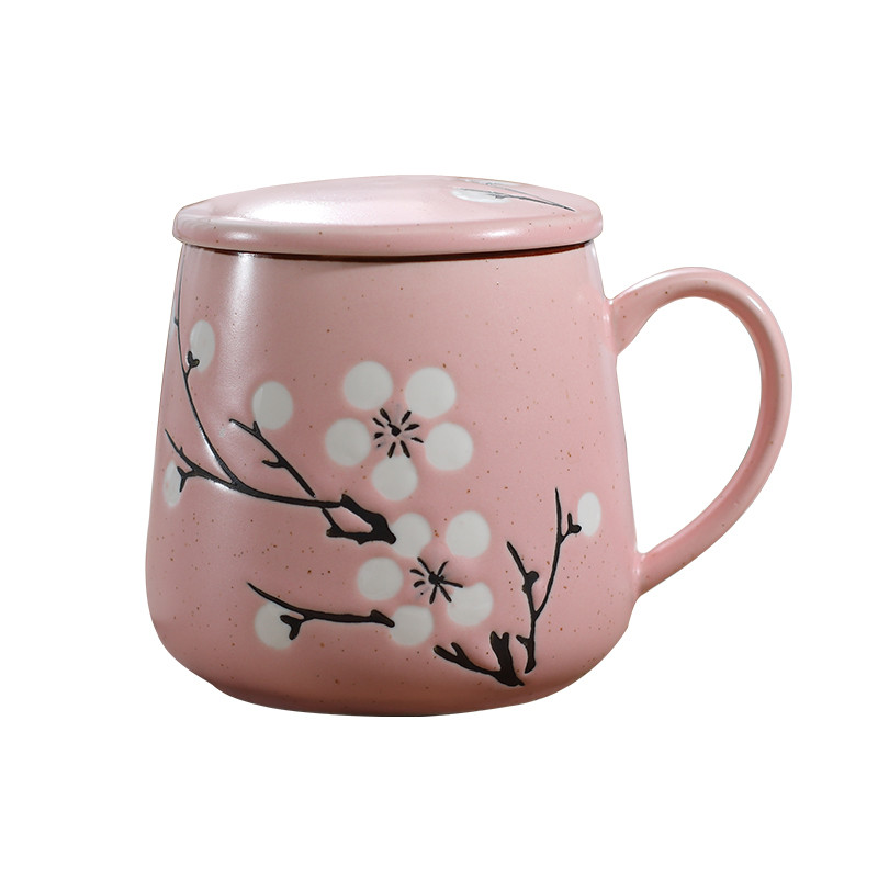 创意手绘可爱彩色家用陶瓷马克杯带盖带勺子杯子水杯咖啡杯牛奶杯生活