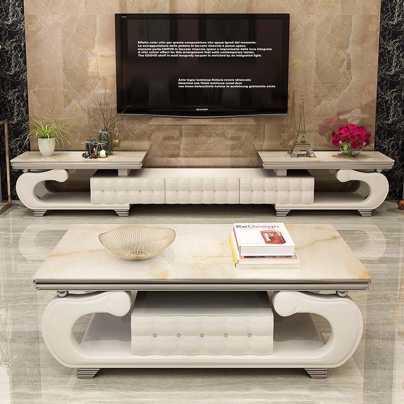 简欧可伸缩电视柜茶几组合 欧式钢化玻璃理石烤漆客厅图片