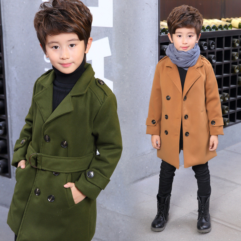 童韓版兒童男孩中長款外套加厚保暖 嬰童外套/風衣中長款外套兒童外套圖片