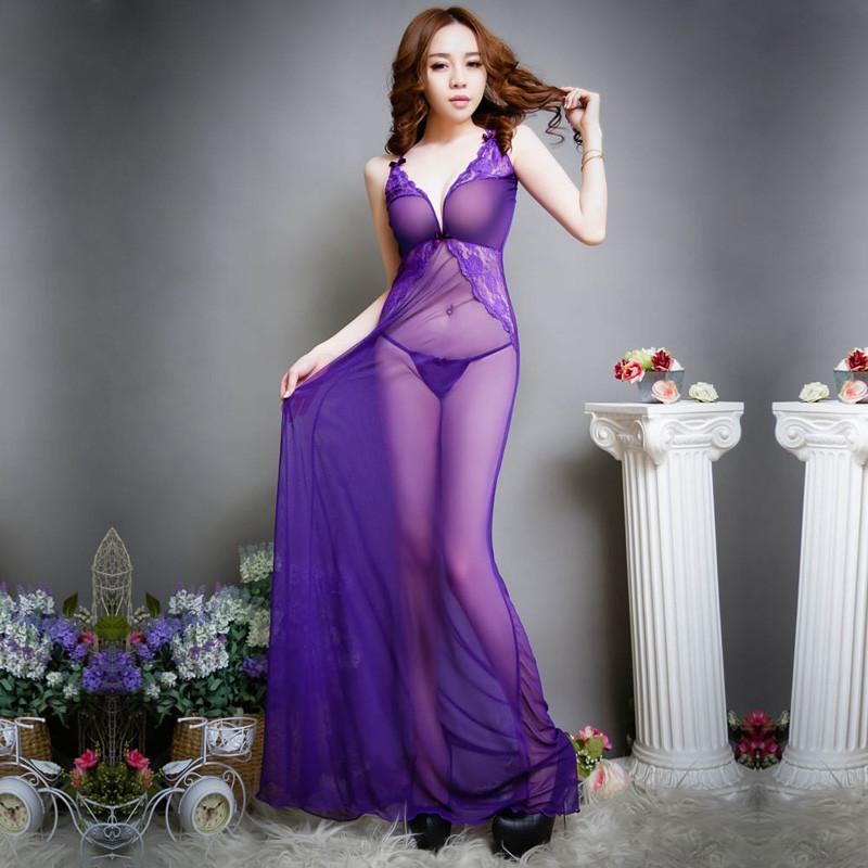 叶子媚性感紫色套装女士跳蚤透明深v领吊睡裙长裙带式情趣内衣情趣文睡衣超薄小黄图片