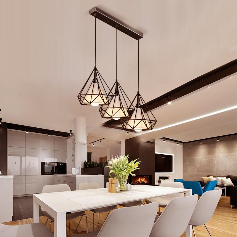 led北欧风格后现代简约创意个性工业风卧室餐厅铁艺钻石吧台吊灯