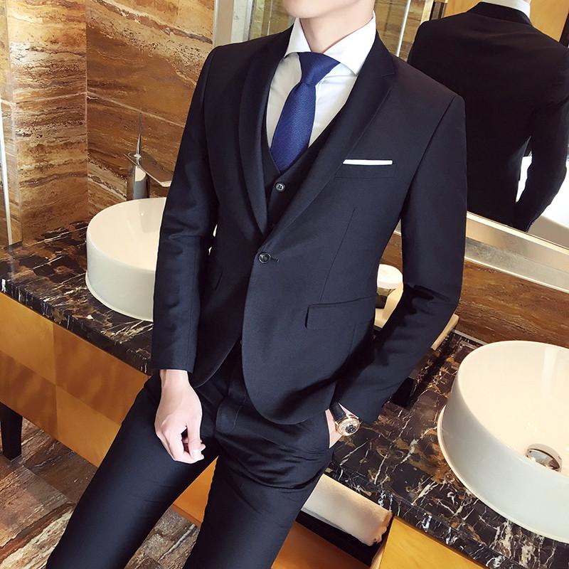 2017韩版男士潮流商务修身西服三件套 男式气质单排扣