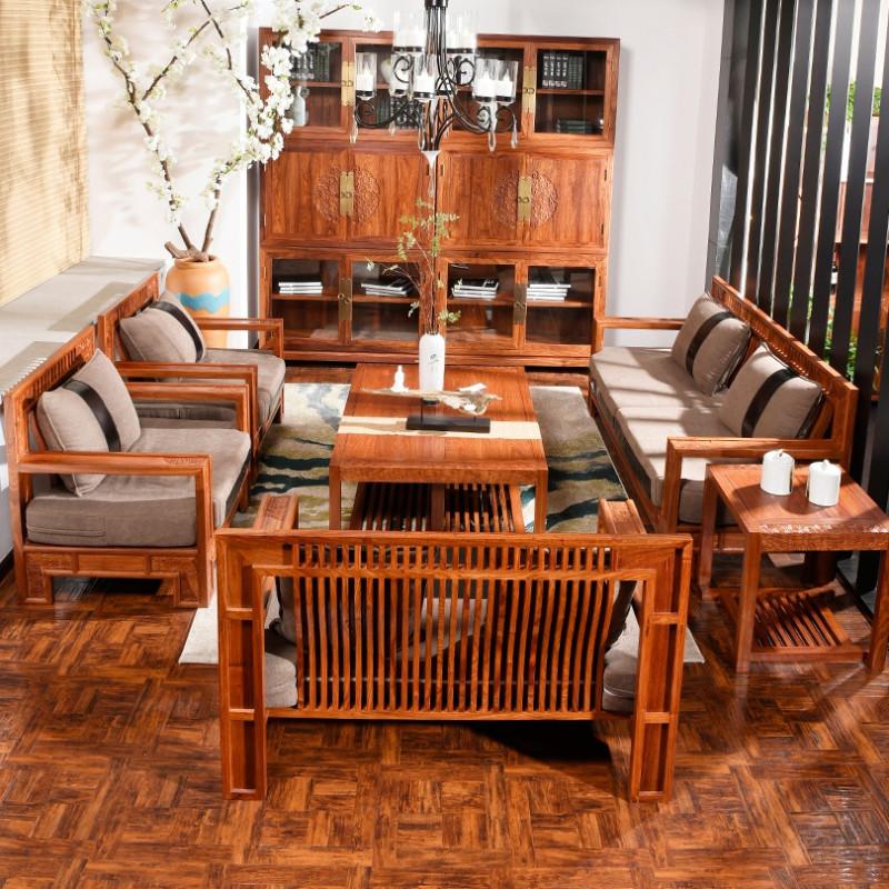 木屋子 現代中式紅木沙發 刺猬紫檀原木沙發組合 客廳古典實木家具圖片