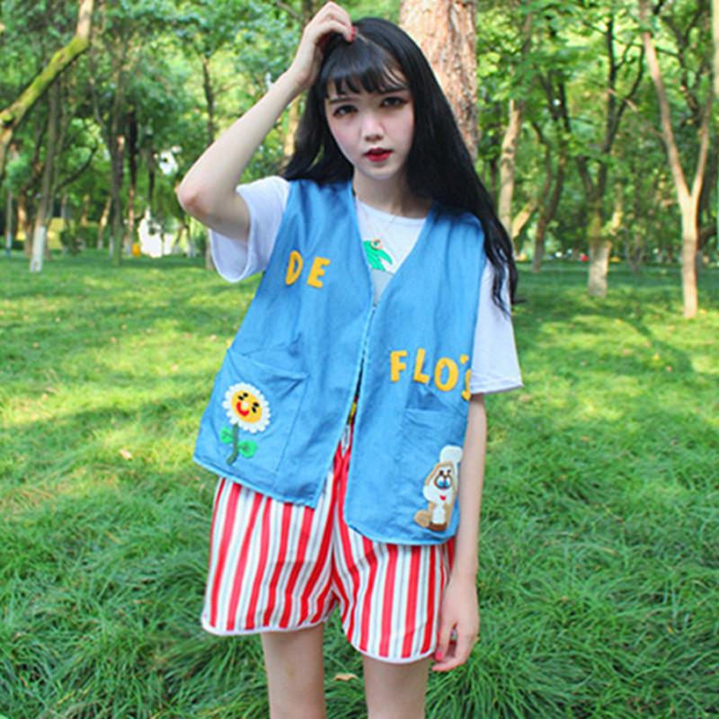 韩版时尚休闲套装女软妹夏装可爱卡通牛仔背心 t恤 短裤三件套潮