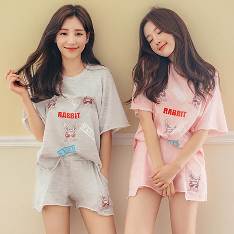 闺蜜睡衣女夏季短袖套装可爱卡通甜美公主韩版宽松外穿学生家居服