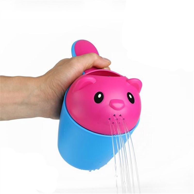 婴儿花洒浴勺水勺宝宝洗澡儿童洗头杯小熊洗发戏水瓢戏水玩具 蓝色