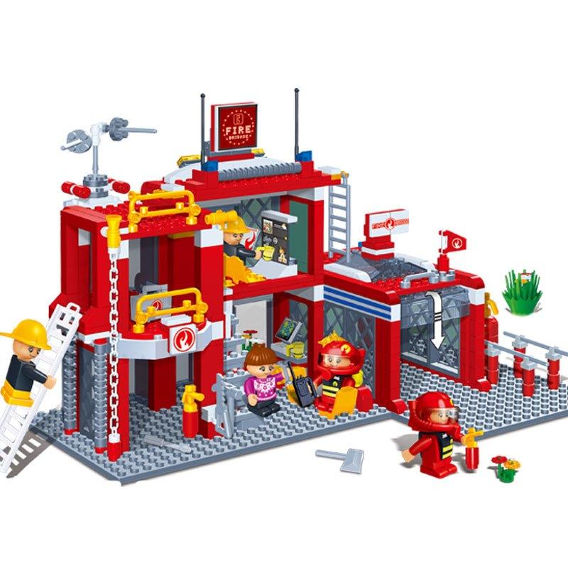 邦宝积木【小颗粒】邦宝益智拼插儿童积木玩具创意建筑城市房消防总部