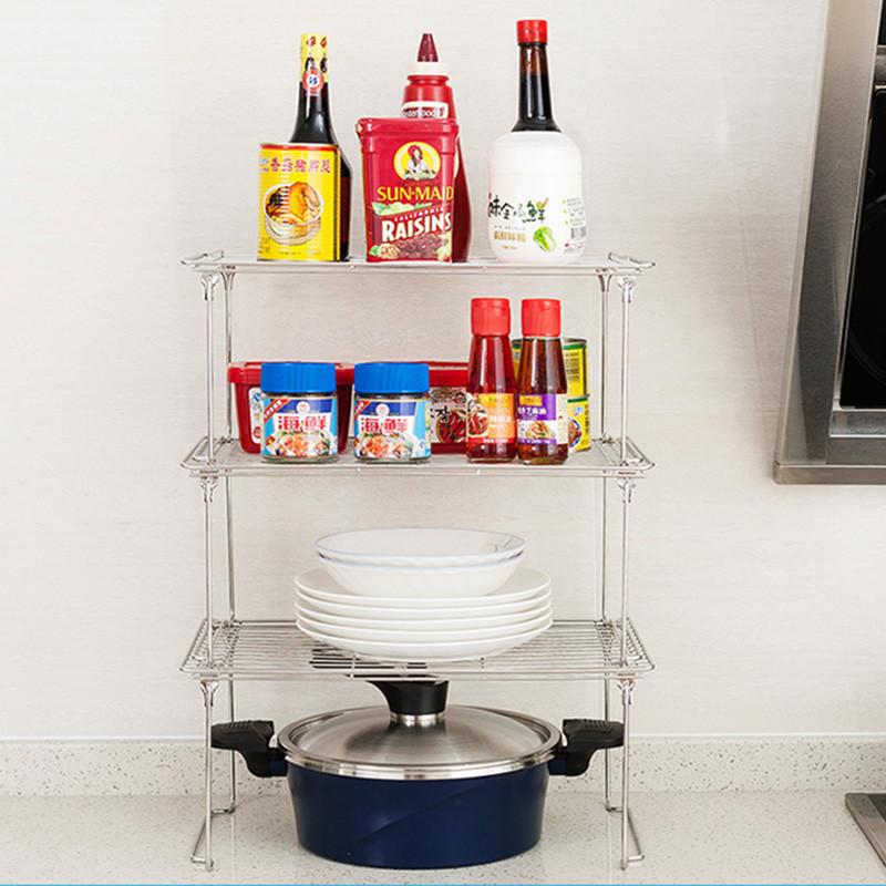 不锈钢置物架沥水槽橱柜碗碟架厨房用品收纳架锅架冰柜储物架图片