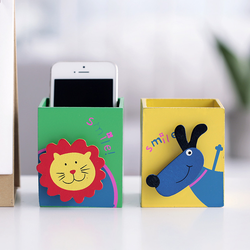 木质笔筒可爱卡通动物收纳盒时尚创意多功能笔插整理储物盒-猫咪