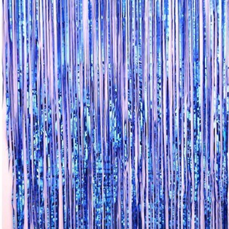 背景墙雨丝帘流苏雨丝帘子舞台道具婚庆布置生日派对装饰品-7彩色2m高