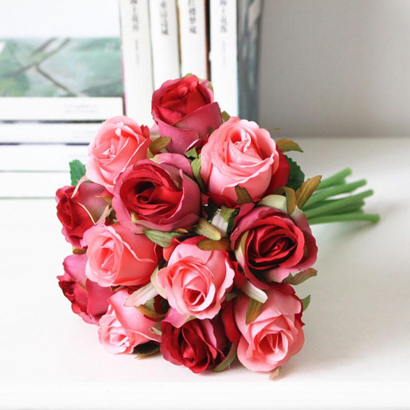 欧式插花家居摆设手札玫瑰花束12朵仿真花假花绢花客厅装饰花-绿色
