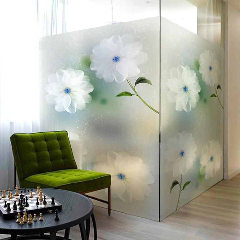 静电贴磨砂玻璃贴纸不透明贴膜卫生间窗户贴纸-磨砂梦幻花卉59cm宽x