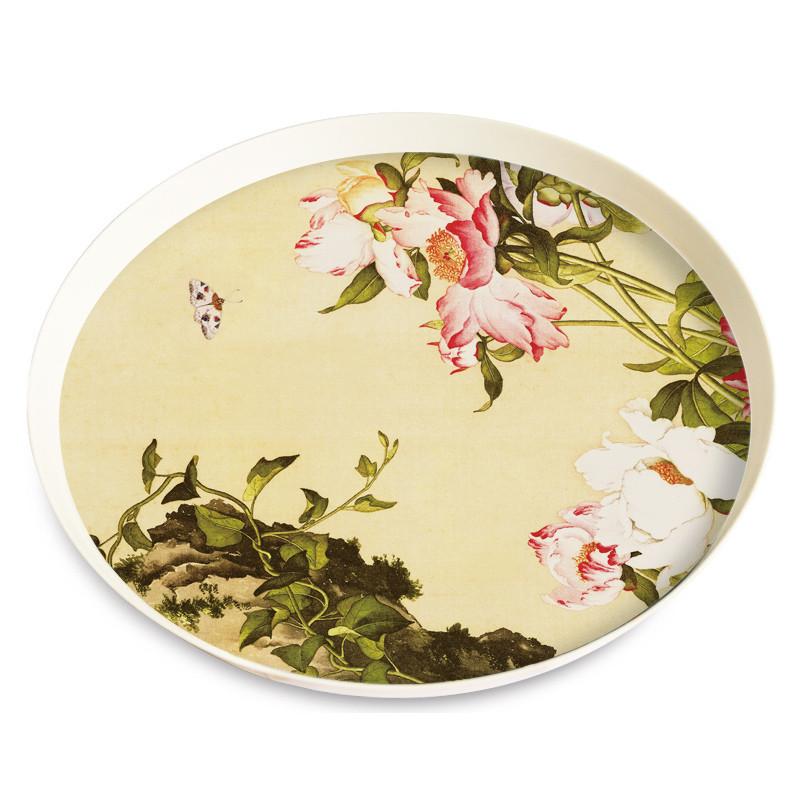 餐盘圆形创意北欧式套装儿童茶几水果盘客厅餐具水杯托盘酒店-丰收