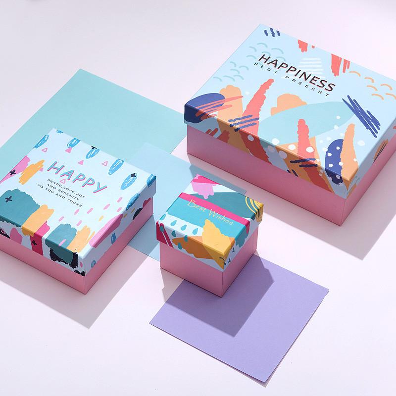 长方形大号涂鸦卡通礼物盒礼品盒礼物包装盒正方形创意礼盒回礼盒