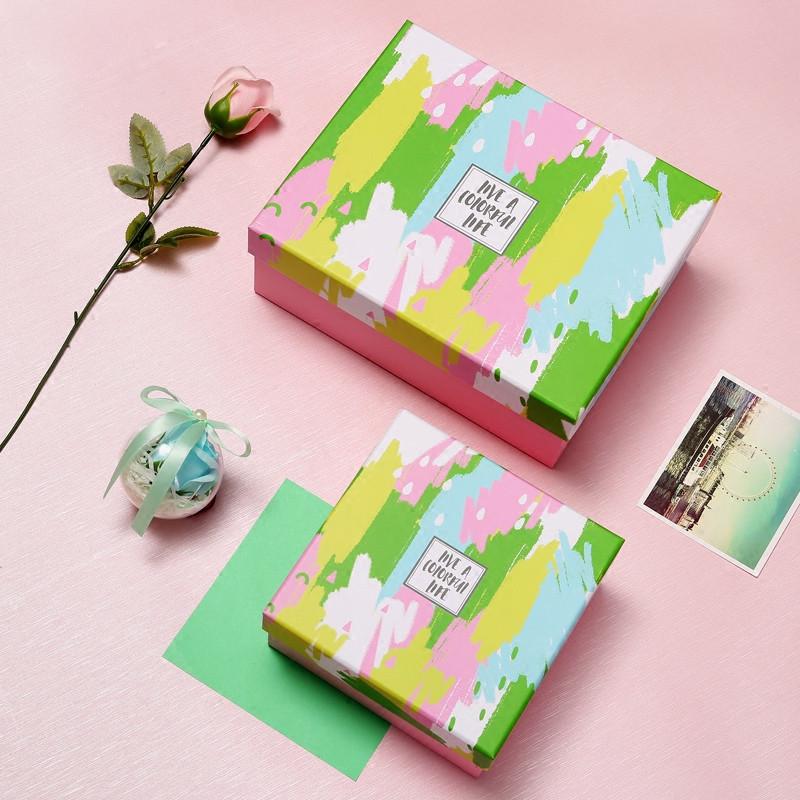 大号正方形包装盒盒子水彩涂鸦小清新礼品盒礼物盒多彩婚礼伴手礼