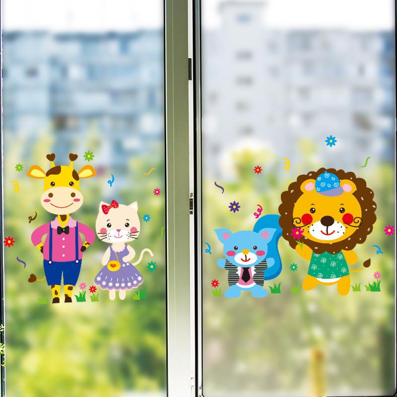 幼儿园玻璃门装饰图_幼儿园装饰墙面布置教室班级玻璃门贴纸壁纸自粘墙贴画儿童 ...