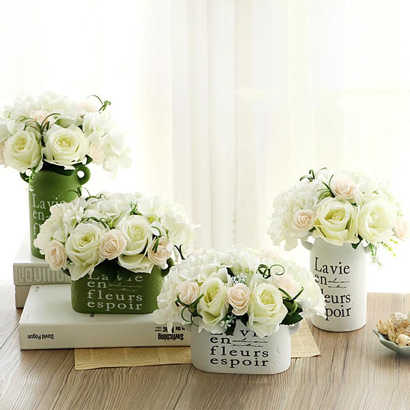 客厅家居装饰品仿真假花套装小清新桌花陶瓷圆球花瓶田园花艺摆件-白图片